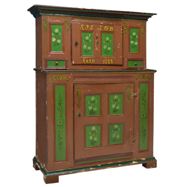 Late 18th Century 18th Century Swedish Country Pine Painted Cupboard For Sale - Image 5 of 5