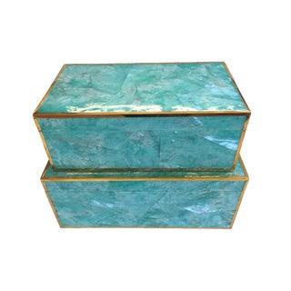 Contemporary Made Goods Turquoise Shell Erin Boxes - a Pair