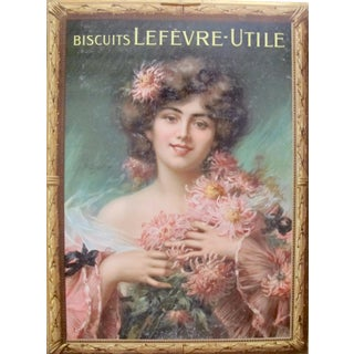 Belle Epoque Art Nouveau French Poster, Woman with Chrysanthemums For Sale