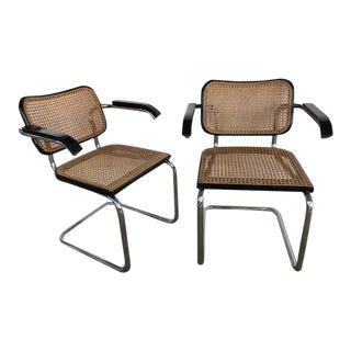 1960s Vintage Marcel Breuer Bauhaus Wien Straw B32 Cesca Arm Chairs- A Pair For Sale
