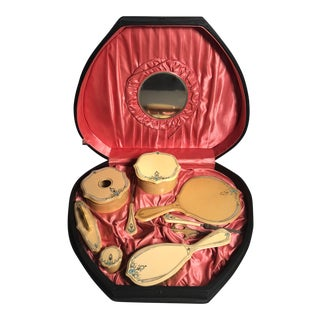 1910 Art Nouveau Traveling Vanity Case With 9 Celluloid Vanity Items For Sale