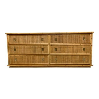 Bamboo and Woven Rattan Double Dresser For Sale