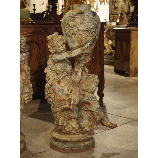 Early 20th Century Beautiful Pair of Antique Cast Iron Figural Garden Urns For Sale - Image 5 of 13
