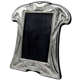 English Sterling Silver Picture Frame in the Art Nouveau Style For Sale