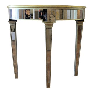 Mecox Gardens Mirrored Demilune Table For Sale