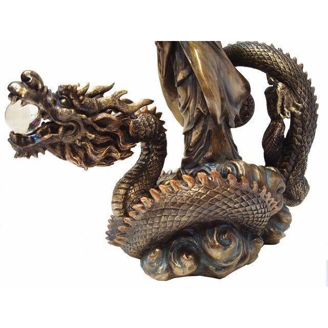 Asian Quan Yin & Dragon Large Sculpture For Sale In Sacramento - Image 6 of 6