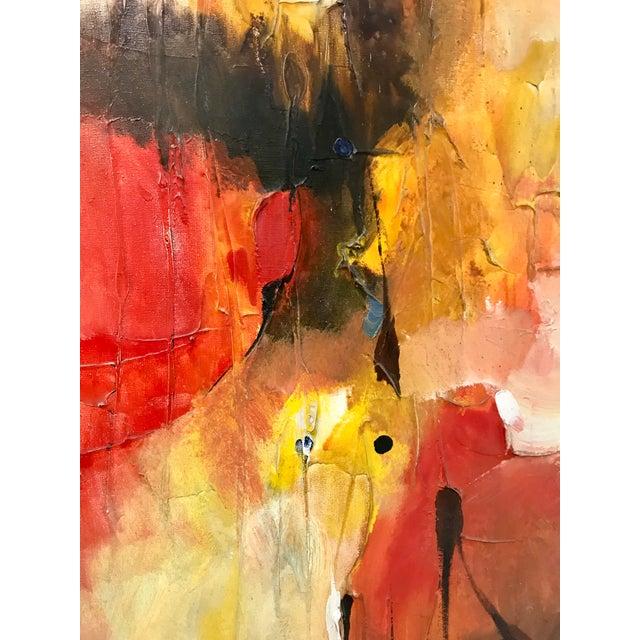 Untitled mid-century modern abstract oil on canvas by Filipino artist Leonardo M. Zablan (1942-1982), dated 1970....