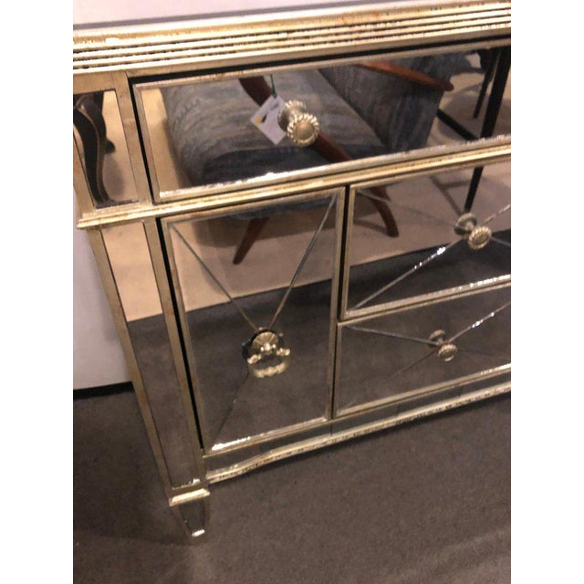 Mirrored Hollywood Regency Style Large Nightstand or Commode For Sale - Image 4 of 11
