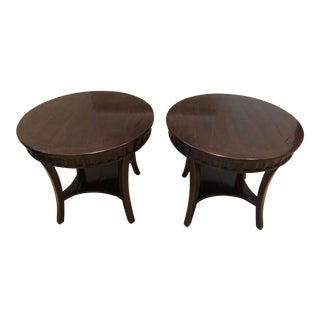 Beautiful Pair of Round Mahogany Side Tables For Sale