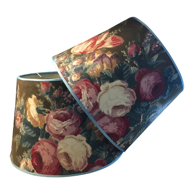 Vintage Chintz Lampshades - a Pair For Sale