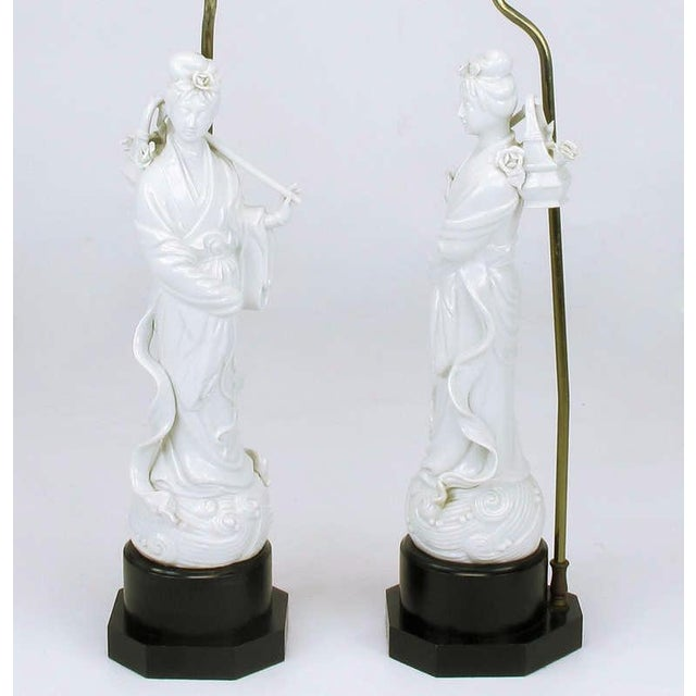 Pair Blanc De Chine Female Figure Table Lamps For Sale - Image 4 of 9