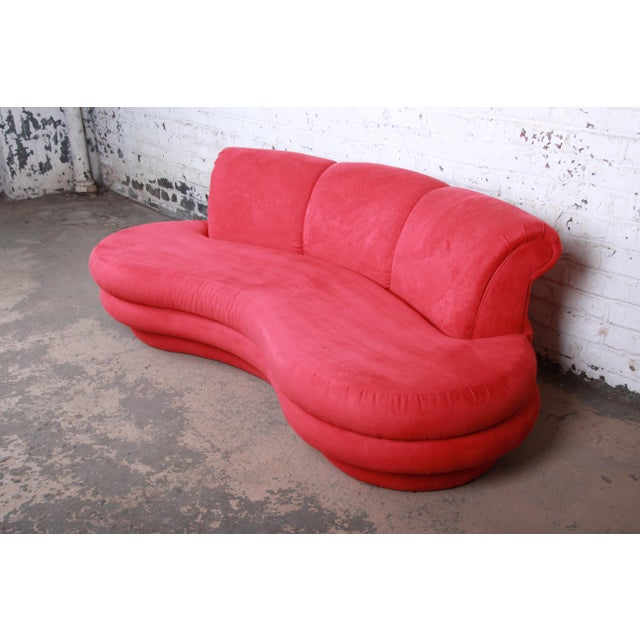 Comfort Designs, Inc. Adrian Pearsall Curved Kidney Shape Red Sofa for Comfort Designs For Sale - Image 4 of 8