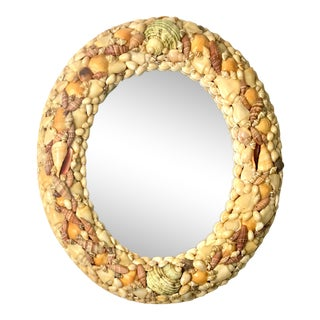 Vintage Grotto Style Sea Shell Oval Wall Mirror For Sale