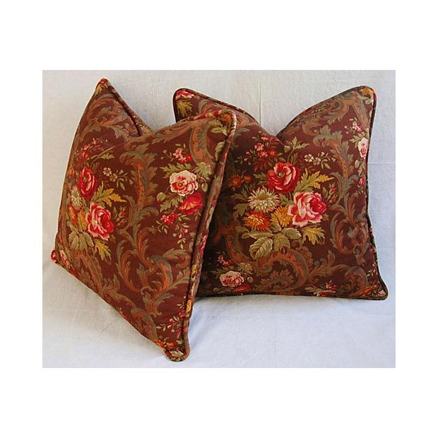 Brown Custom American Folk Kings Floral Pillows - Pair For Sale - Image 8 of 9