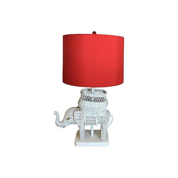1950s Hanson Wicker Elephant Lamp & Shade For Sale - Image 5 of 8