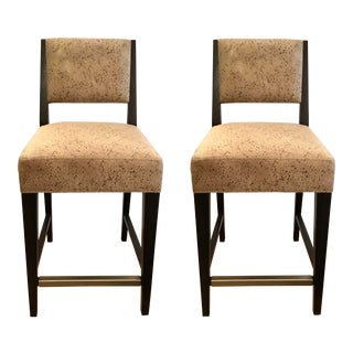 Caracole Modern Beige Pebble Counter Stools Pair For Sale