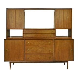 Vintage Stanley Mid Century Modern Walnut Credenza Cabinet Bookcase Danish Style