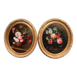 Mid-20th Century French Floral Still Life Oil Paintings in Gilt Frames - a Pair For Sale