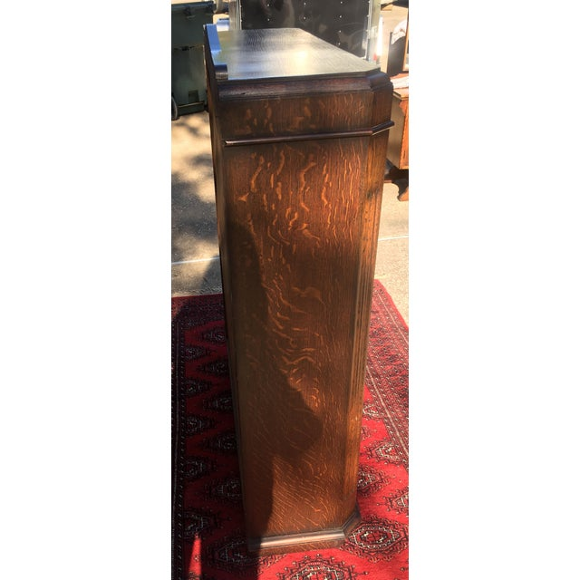 Mid-Century Carved Oak Leaded Glass Bookcase For Sale - Image 5 of 10
