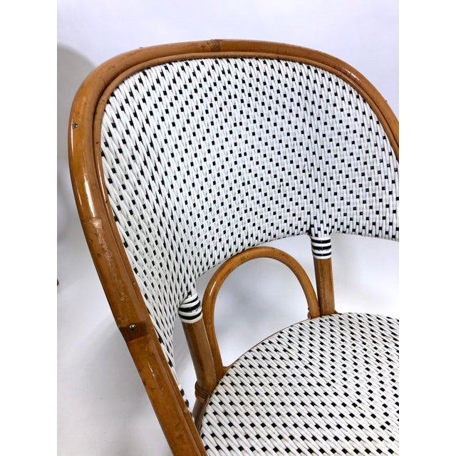 Late 20th Century Maillot French Bistro Woven Bamboo Rattan Chairs—Set of 5 For Sale - Image 5 of 13