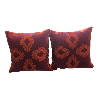 Transitional Serena & Lily Embroidered Leighton Pillow Cover in Fuschia and Papaya - Two Available For Sale