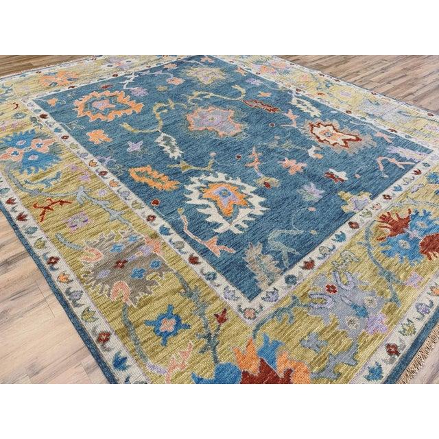 Blue Oushak Rug- 8′ × 10′ For Sale - Image 4 of 11