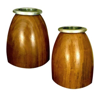 1960s Danish Modern Teak and Steel Mid-Century Modern Vases - a Pair For Sale