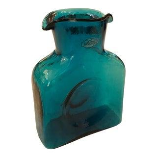 Vintage Blenko Handblown Teal Vessel For Sale
