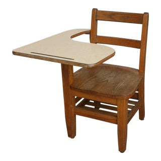 20th Century Arts and Crafts Tiger Oak Right Handed School Desk With Attached Seat For Sale