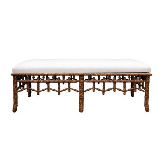 Late 20th Century Vintage Bamboo Style Legs and Frame Bench For Sale