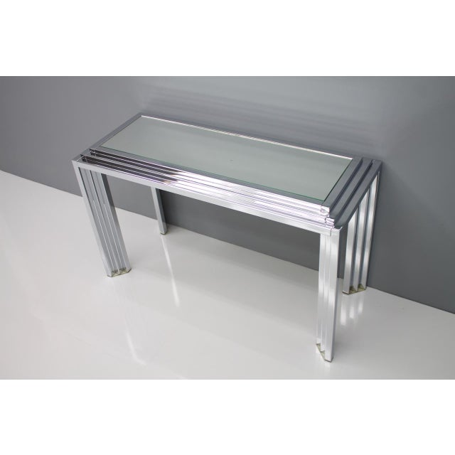 Hollywood Regency Chrome Mirror and Console Table, France, 1974 For Sale - Image 10 of 11