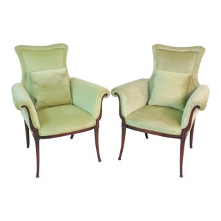 Hollywood Regency Style Mahogany Upholstered Fireside Chairs - a Pair