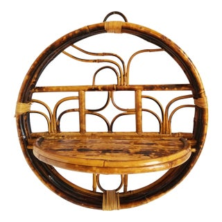 Vintage Bamboo Folding Wall Shelf For Sale