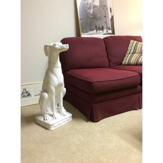 This whippet stands tall as part of a vignette or alone. Finished in a pure white sand texture. Good looking fellow!