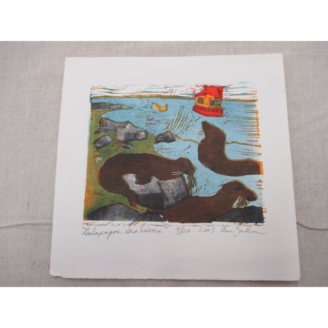 2000 - 2009 Vintage Lithograph Titled: Sea Lions Signed by the Artist: Ann Zahn For Sale - Image 5 of 5