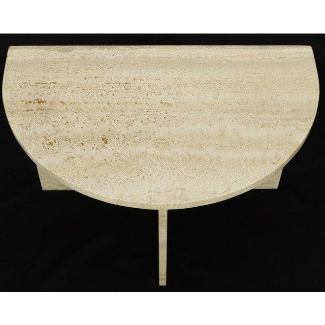 Demilune Travertine Half Round Console Table For Sale - Image 9 of 12