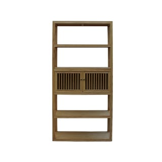 Light Natural Raw Wood Shutter Doors Bookcase Divider Cabinet For Sale