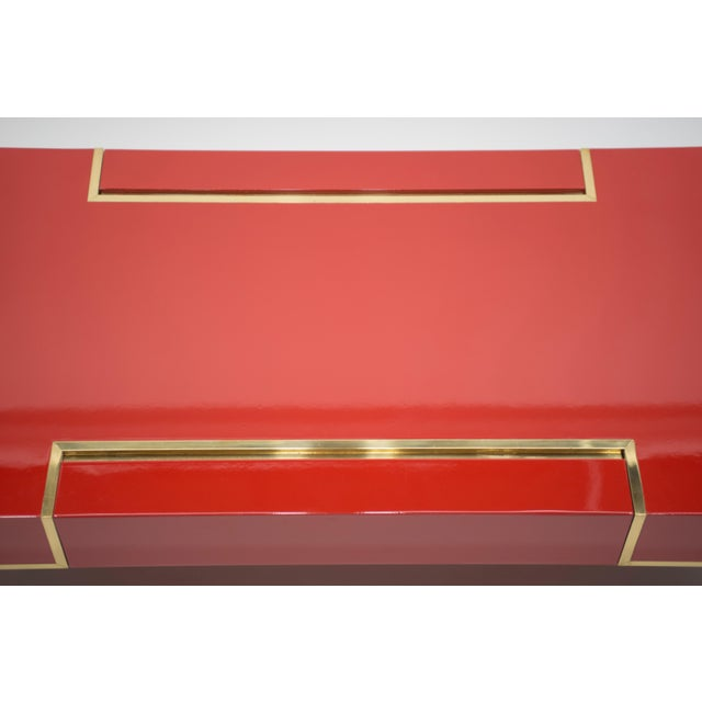 Rare j.c. Mahey Red Lacquer and Brass Coffee Table, 1970s For Sale - Image 9 of 13