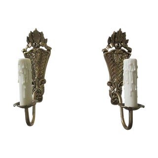 Gustavian Style Brass Sconces - A Pair For Sale