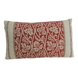 Vintage Hand-Blocked Red and Pink Lumbar Decorative Pillow For Sale