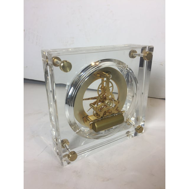Gold Late 20th Century Vintage Square Shape Lucite Clock For Sale - Image 8 of 13