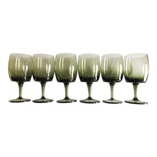 1970s Vintage Olive Green Wine Glasses - Set of 6 For Sale