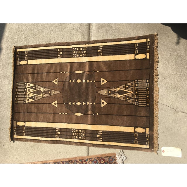 Art Deco 20th Century Peking Style Gaba Brown Rug 3x4 For Sale - Image 3 of 5