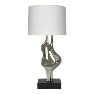 Alain Chervet Style Nickel-Plated Sculptural Table Lamp For Sale