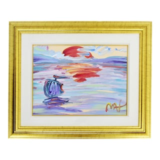 Contemporary Modern Framed Peter Max American Sunset Signed Acrylic Painting For Sale