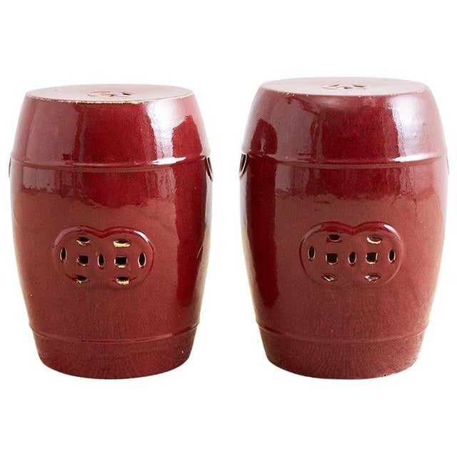 Chinese Oxblood Sang De Boeuf Style Garden Stools For Sale - Image 13 of 13