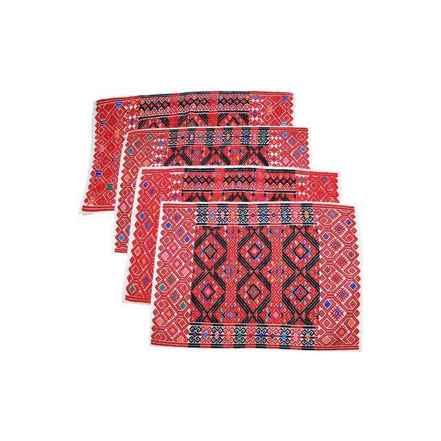 Handwoven Red Brocade Placemats - Set of 4 - Image 1 of 4