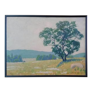 Early 20th Century Antique Signed Samuel B. Wylie Woodstock Summer Landscape Oil on Board Painting For Sale