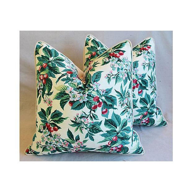 "Custom Tailored Schumacher Cherry Blossom Feather/Down Pillows 23"" Square - Pair For Sale - Image 11 of 11"