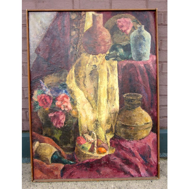 1960s Vintage Suzanne Peters Oil on Canvas Studio Still Life With Roses, Peonies, Clay Vessels & Fruit Painting For Sale - Image 9 of 9